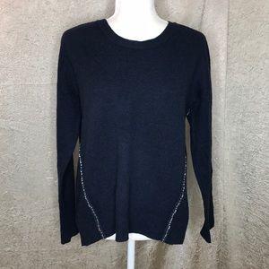 J Crew Blue Wool Dual Gem Strand Sweater Sz Medium